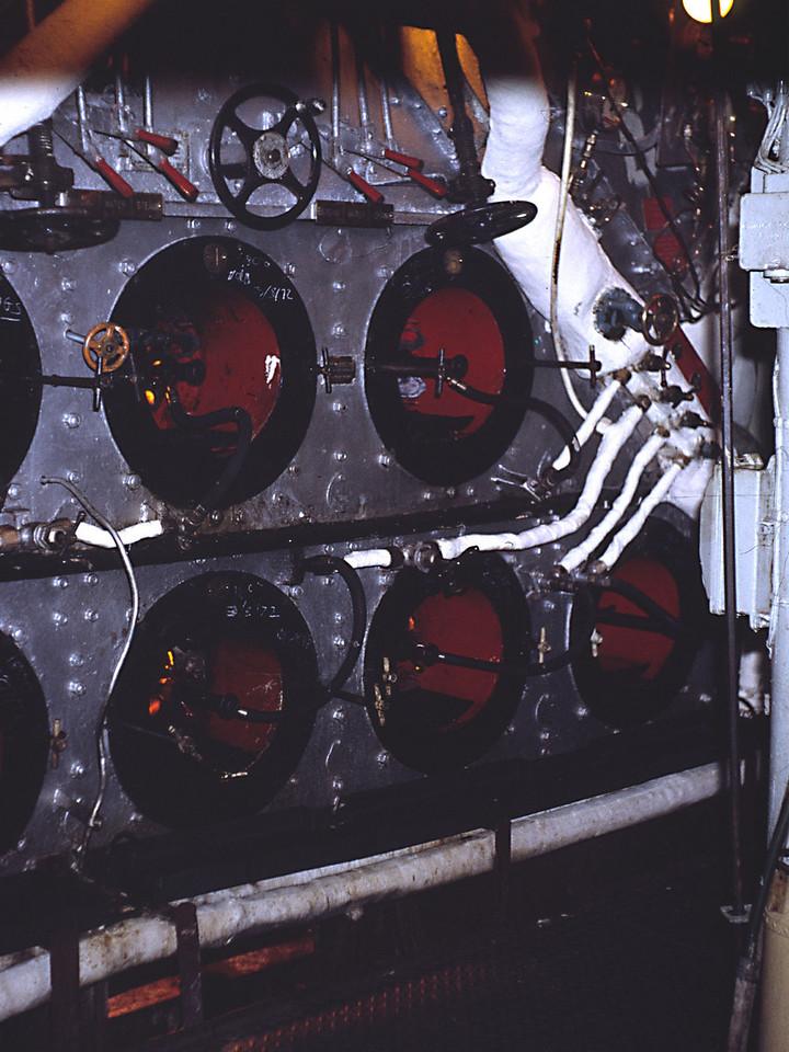 Boiler Front - we had 2 Admiralty Three Drum Boilers in two pressurised boiler rooms