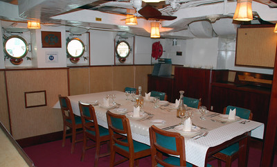 The Wardroom Dining Room: not exactly 1st class in the Titanic.