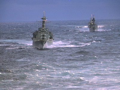 Escorting frigates and destroyers. Arctic Oct 1973
