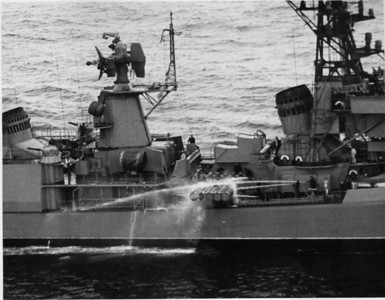 Soviet Kanin class guided missile destroyer 252 accidently releases a torpedo