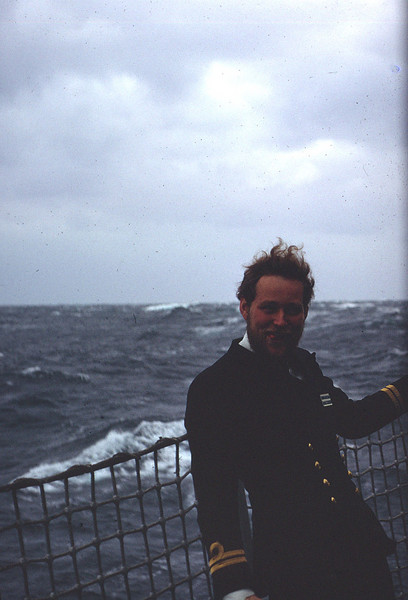 Weapons Electrical Officer, Mike Buggy takes an after dinner stroll on the port Seacat sponson.