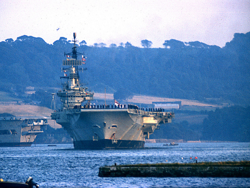 HMS Hermes returning from deployment in Cyprus. Pictured from Torpoint August 1974