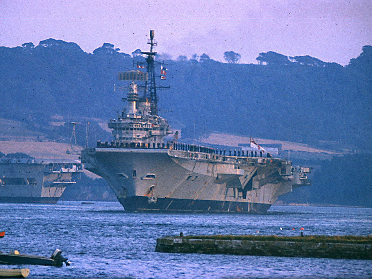 HMS Hermes comes home: August 1974