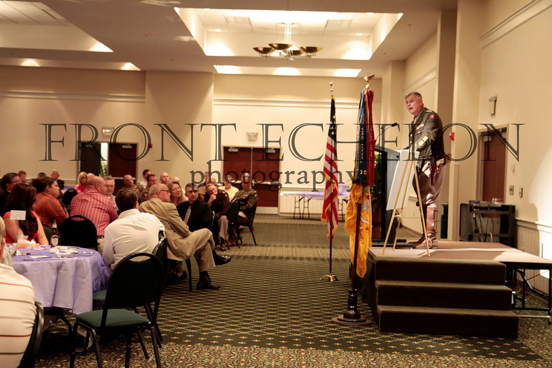 Living historian, Denny Hair, who portrays General George Patton, addresses the 6th Cavalry Museum banquet fundraiser in Ft. Oglethorpe, Georgia