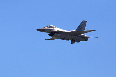 F-16 Fighting Falcon Primary Function: Multirole fighter Contractor: Lockheed Martin Corp. Power Plant: F-16C/D: one Pratt and Whitney F100-PW-200/220/229 or General Electric F110-GE-100/129 Thrust: F-16C/D, 27,000 pounds Wingspan: 32 feet, 8 inches (9.8 meters) Length: 49 feet, 5 inches (14.8 meters) Height: 16 feet (4.8 meters) Weight: 19,700 pounds without fuel (8,936 kilograms) Maximum Takeoff Weight: 37,500 pounds (16,875 kilograms) Fuel Capacity: 7,000 pounds internal (3,175 kilograms); typical capacity, 12,000 pounds with two external tanks (5443 kilograms) Payload: Two 2,000-pound bombs, two AIM-9 and 1,040-gallon external tanks Speed: 1,500 mph (Mach 2 at altitude) Range: More than 2,002 miles ferry range (1,740 nautical miles) Ceiling: Above 50,000 feet (15 kilometers) Armament: One M-61A1 20mm multibarrel cannon with 500 rounds; external stations can carry up to six air-to-air missiles, conventional air-to-air and air-to-surface munitions and electronic countermeasure pods Crew: F-16C, one; F-16D, one or two