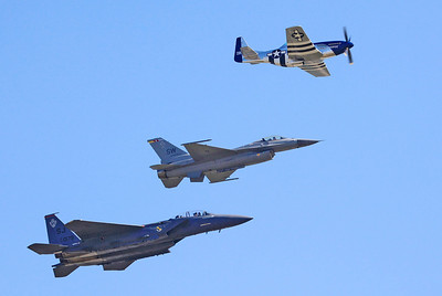 P-51 Mustang WWII Vintage Prop Plane (top) F-16 Fighting Falcon (middle) F-15E Strike Eagle (bottom)