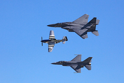 P-51 Mustang WWII Vintage Prop Plane (middle) F-16 Fighting Falcon (bottom) F-15E Strike Eagle (top)