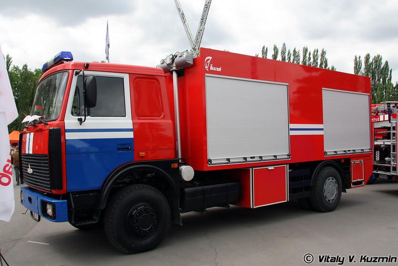 Аварийно-спасательный автомобиль для ликвидации крупных химических аварий на шасси МАЗ-5336А3 (Rescue and emergency vehicle for fighting chemical accidents)