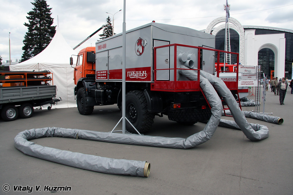 Универсальный мобильный нагреватель воздуха УМП-400 Горыныч на шасси КАМАЗ-4326 (Mobile airheater UMP Gorinich on KAMAZ-4326 chassis)