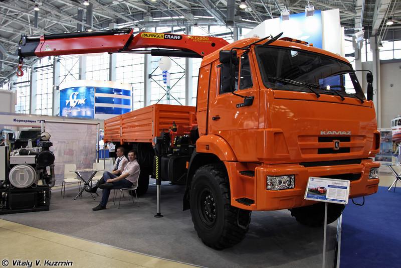 КАМАЗ-43118 с крано-манипуляторной установкой Palfinger PK 15500 A (KAMAZ-43118 with Palfinger PK 15500 A crane)