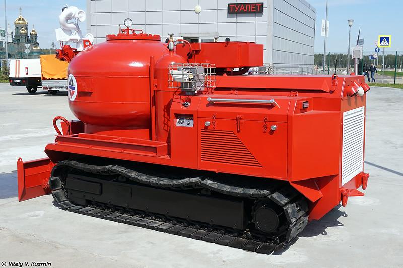 Порошковый модуль пожаротушения из состава мобильного комплекса пожаротушения и ликвидации последствий техногенных аварий Ель-М (El-M fire fighting UGV)