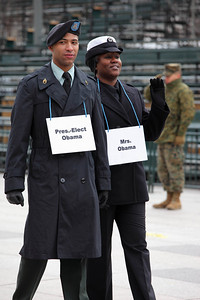 Obama stand-ins Army Staff Sgt. Derrick Brooks and Navy Yeoman 1st Class LaSean McCray