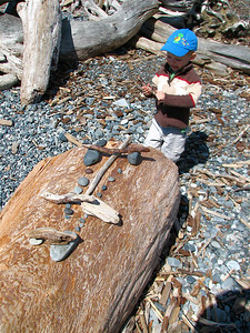 Three-year-old beach art