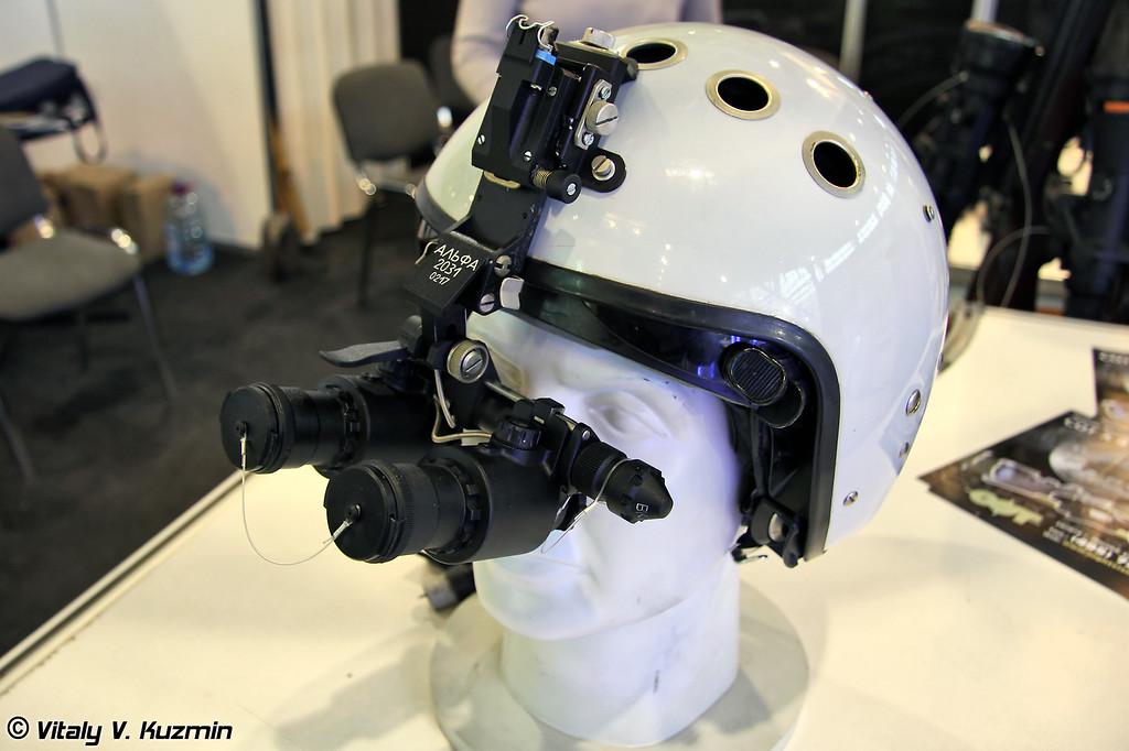 Очки ночного видения Альфа-2031 предназначены для пилотирования вертолетов, легкомоторных самолётов, мотодельтопланов. Крепление очков обеспечивает их установку на защитном шлеме 3Ш-7В. (Night vision device Alfa-2031 for pilots. Could be mounted on ZSh-7V helmet))