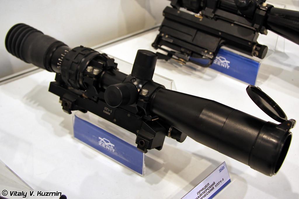 Прицел снайперский 1П71-1 предназначен для ведения прицельной стрельбы из крупно-калиберной снайперской винтовки АСВК (Sniper scope 1P71-1 for ASVK large caliber sniper rifle)