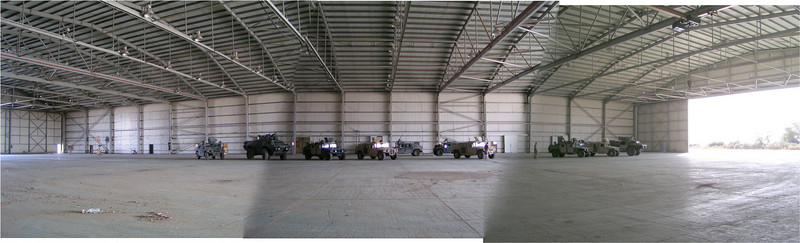 Inside the hangar that was home for us in Camp Delta.