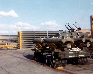 Trailer with CBU's cluster bombs waiting to be loaded.