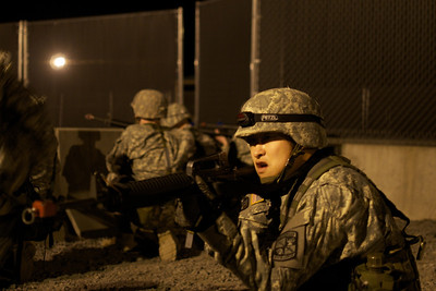 April 20, 2012, Camp Edwards, MA - ROTC cadets from multiple colleges in New England form a Quick Response Force as part of front gate guarding exercise at Tactical Training Base Kelley during a weekend Joint Field Training Exercise. Photo by Ryan Hutton