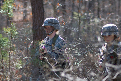 April 21, 2012, Camp Edwards, MA - ROTC cadets from multiple colleges in New England go over tactics during squad training exercises at Tactical Training Base Kelley during a weekend Joint Field Training Exercise. Photo by Ryan Hutton
