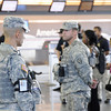 Staff Sergeant Flavio Rivera and Specialist Michael Sloan assigned to Joint Task Force – Empire Shield alongside PAPD, DHS, TSA and other agencies provide security presence during a heightened security on the 9/11 anniversary on September 11, 2011 at JFK Airport, Queens, NY. JTF-ES provides a heavy visible military presence to deter terrorist threat and provide a show of force across New York City. With President Barack Obama, former President George W. Bush and many other dignitaries attending ceremonies citywide, multiple local, city, state and federal law enforcement agents has been deployed throughout New York City.<br /> <br /> (U.S. Air Force photo/Technical Sgt. Marcus P. Calliste/Released)
