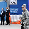Joint Task Force Empire Shield (JTFES) provide security elements along side the New York City Police Department, Port Authority of New York and New Jersey Police Department to support the president's visit to World Trade Center during a wreath-laying ceremony held May 5, 2011 at New York, Unlike the visit of the then presidential candidate Obama 2008 visit to Ground Zero, this 2011 visit and wreath-laying ceremony is more symbolic to the War on Terror as it comes days after the death of Osama Bin Laden. <br /> <br /> (U.S. Air Force photo by Staff Sgt. Marcus P. Calliste)(Released)