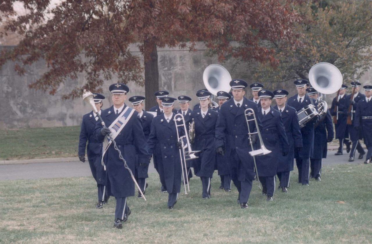 Leading the band in Arlington-The Pentagon is in the background