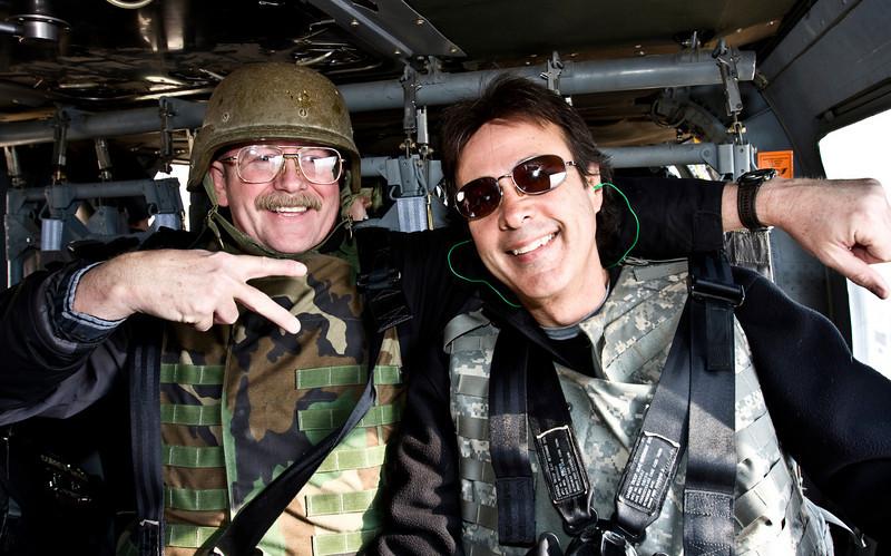 Blackhawk helicopter ride over Baghdad, Iraq with Dano Goforth headed to Camp Taji, Iraq, January 22, 2009. Photo by Arturo Cisneros.