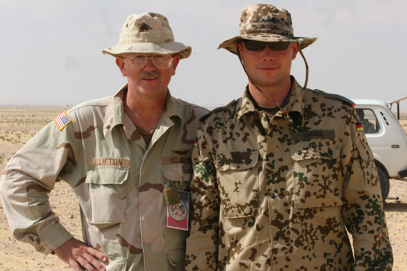 Me in the Egyptian Desert with the German Army Public Affairs Officer, September and October, 2005. Taken by my GREAT friend, Staff Sergeant David Howell. I owe you BIG time my friend!!