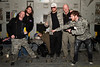 "A group photo with the band ""Saving Abel"" onboard a U. S. Air Force C-17 over Iraq. That's Blake Dixon, the drummer, asleep. I hated to wake him for the photo. So we didn't!! The rest of the group thought this would be funny! This is a great group of musicians and some good guys!! Go see them if you ever get a chance!!"