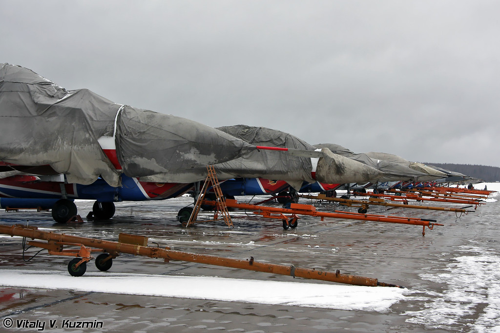 МиГ-29 АГВП Стрижи на стоянке (Swifts team MiG-29 on Kubinka ramp)