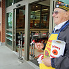 Members of the Leominster VFW Post 1807 were at Market Basket handing out Poppies to raise money for veterans in need on Friday. John Joseph the head of the poppy fundraiser was al smiles a s he wait for people to donate SENTINEL & ENTERPRISE/JOHN LOVE