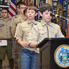 Leominster Boy Scouts read the roll call of names of soldiers missing-in-action, lost-at-sea, buried-at-sea or buried on foreign soil at the White Cross Memorial Service that was held at the Leominster Veterans' Center on Friday evening. SENTINEL & ENTERPRISE / Ashley Green