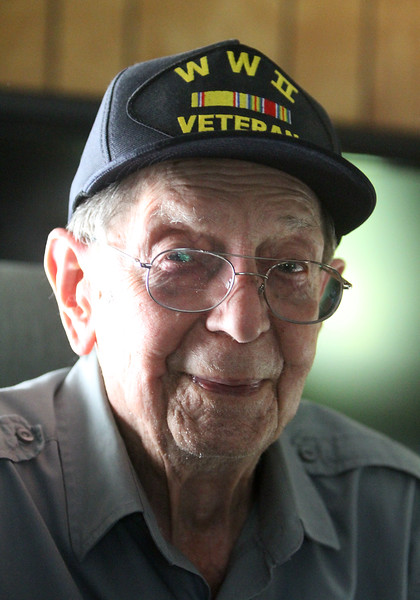 WWII Army veteran Henry Naruszewicz, 103, of Lowell, who is going on an upcoming Honor Flight trip to Washington, DC.  (SUN/Julia Malakie)