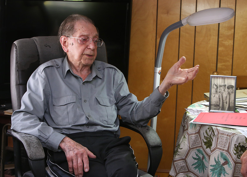 WWII Army veteran Henry Naruszewicz, 103, of Lowell, talks about his WWII expereriences, and the upcoming Honor Flight trip to Washington, DC.  (SUN/Julia Malakie)