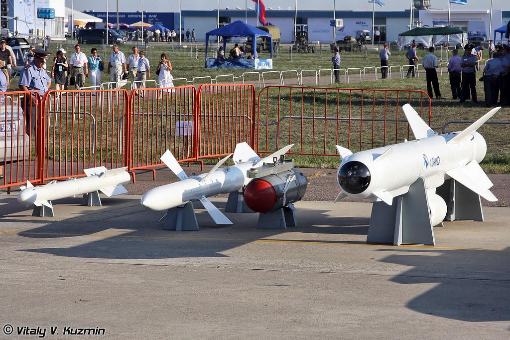 Управляемая ракета малой дальности Р-73, управляемая ракета средней дальности Р-27, учебная корректируемая бомба КАБ-500Кр-У, авиационная тактическая управляемая ракета Х-59М2Э (Short-range air-to-air missile R-73, medium-range air-to-air missile R-27, training guided bomb KAB-500Kr-U, air-to-surface guided missile Kh-59M2E)