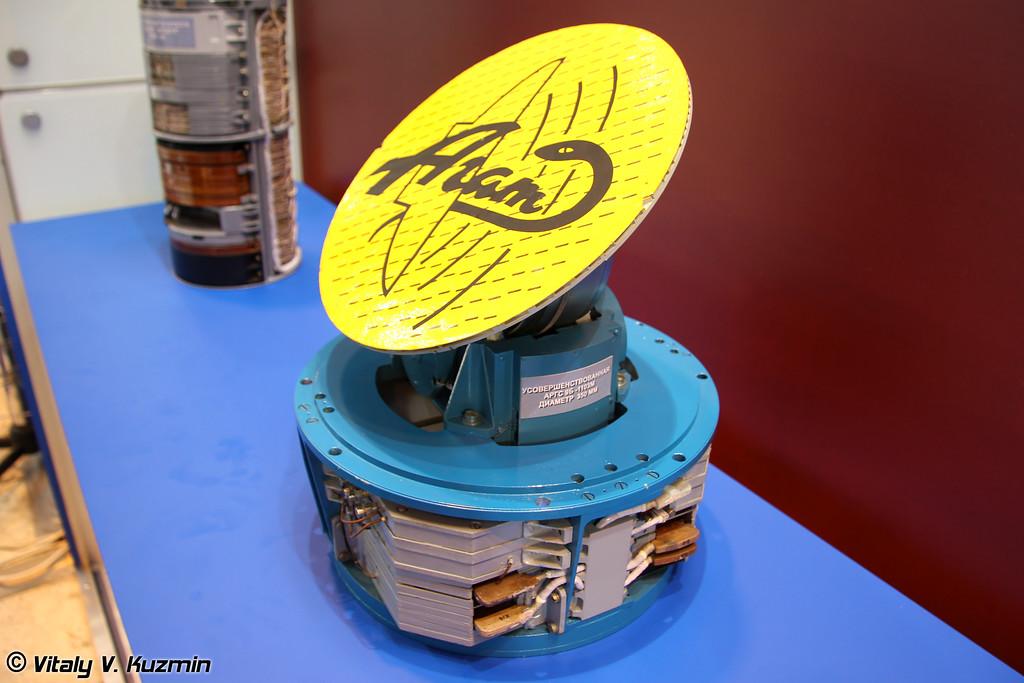 """Активная радиолокационная головка самонаведения 9Б-1103М (диаметр 350 мм) предназначена для установки на ракеты класса """"воздух-воздух"""" и """"земля-воздух"""" (Active radar seeker 9B-1103M 300mm for AAM and SAM)"""
