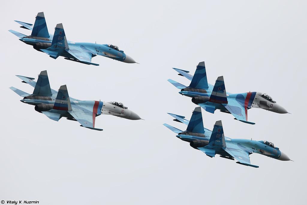 Групповой пилотаж Липецких соколов (Falcond of Russia aerobatics)