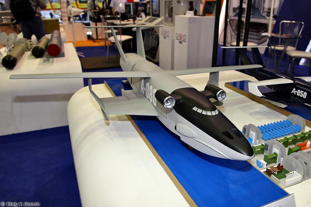 Модель проекта транспортного экраноплана А-080-752 (A-080-752 the model of transport WIG craft)