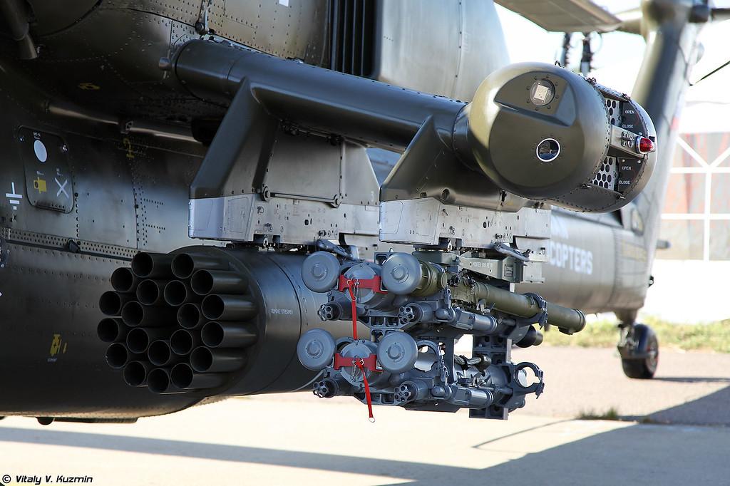 Данный экземпляр так и остался загадкой, носом похож на Ми-28УБ, а представлен же был как Ми-28НЭ с новыми датчиками. (This particular Mi-28 is still unidentified, nose is Mi-28UB, but it was presented as Mi-28NE with some new sensors)