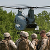 A CH-46E Sea Knight takes off following a drop off of Marines from 2nd Battalion, 6th Marine Regiment with Special Purpose Marine Air Ground Task Force New York, led by 24th Marine Expeditionary Unit, who conducted a simulated raid of Clove Lakes Park in Staten Island, N.Y.,  May 23. The event allowed area residents to walk through helicopters and view static displays of weapons. The 24th MEU has more than 900 Marines who are slated to showcase several events for New York's Fleet Week 2009. (Official Marine Corps photo by: Cpl. Patrick Fleischman)
