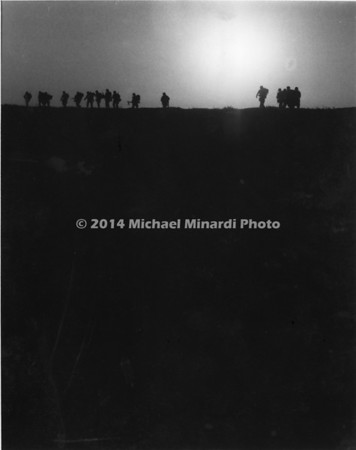 Marines in a ridge in B&W