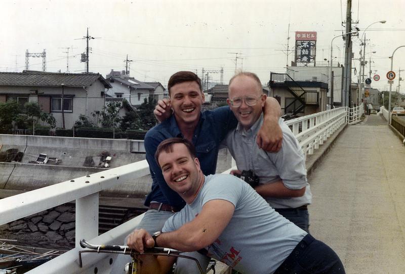 LCpl Rusty Brasher (Upper L), Me (Upper R) and Sgt. Leo McArdle, Iwakuni, Japan, June, 1985.