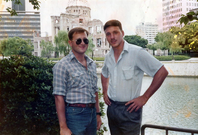 A skinny Sgt. Randy Yeadon (L) and LCpl. Rusty Brasher in front of A-Bomb Dome, Hiroshima, Japan, June, 1985.