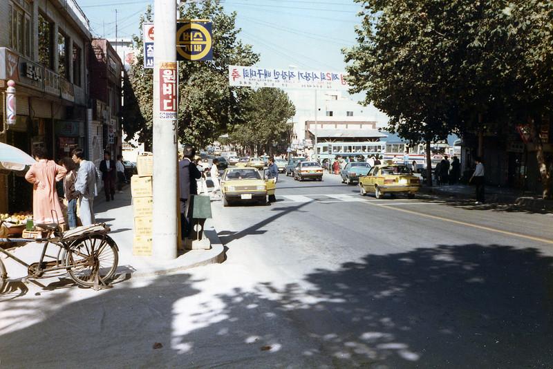 Osan, ROK. October 6, 1985. Downtown area.