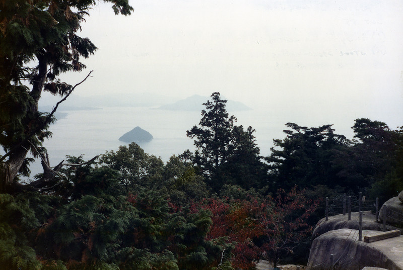 Looking at the Inland Sea from the highest point on Miya Jima Island, Mt. Misen. Oct. 1985