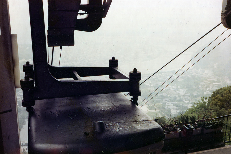 Looking down from the cable car at the Kintai Bridge, Iwakuni, Japan, 1 June, 1985.
