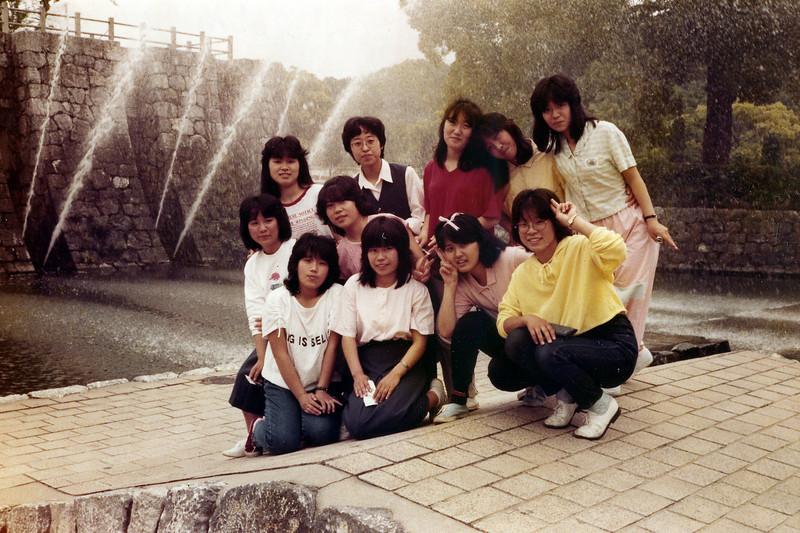 Japanese Tourists. Kintai Castle Park, Iwakuni, Japan. 1 June, 1985.
