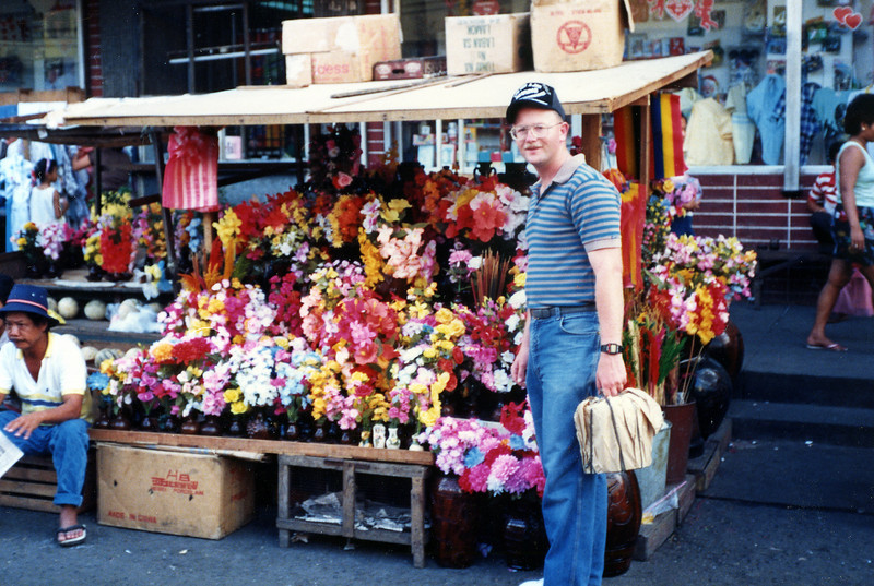 Artificial flowers in the marketplace in Olongapo City, R. P.. 16 Feb., 1987.