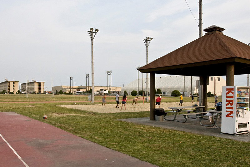 The football field accross the street from the old P-3 barracks.