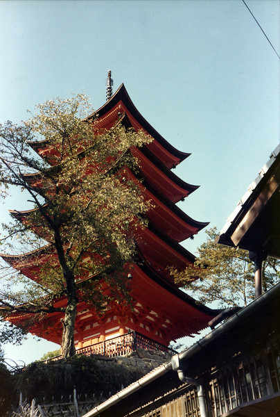"""Miya Jima Island, Japan. October, 1985. Five storied pagoda. Not what it was for. It just looked """"Japanesy"""" so I got a picture."""